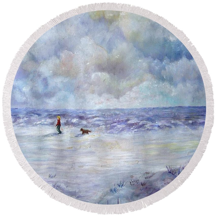 Ocean Round Beach Towel featuring the painting 34th St. Beach by Loretta Luglio