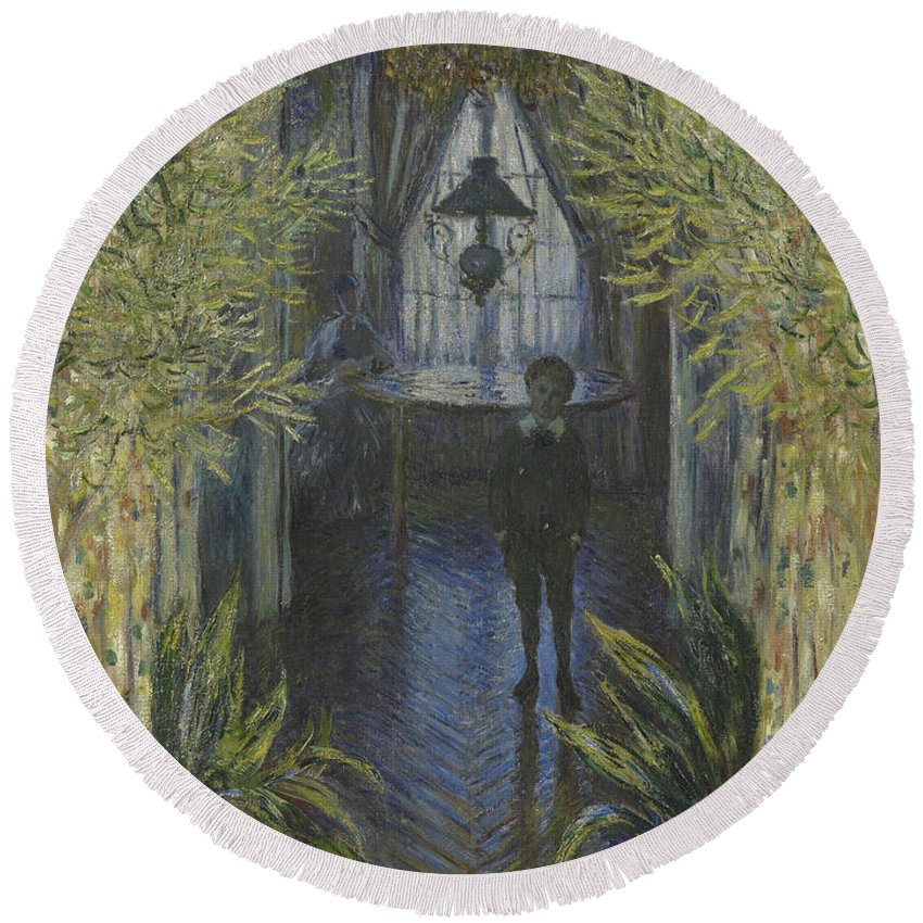 Claude Monet Round Beach Towel featuring the painting A Corner Of The Apartment by Claude Monet