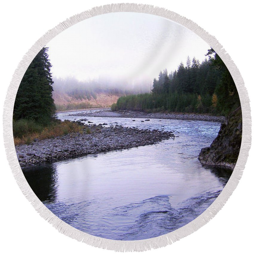 Bloom Round Beach Towel featuring the photograph A Mountain Stream by J D Owen