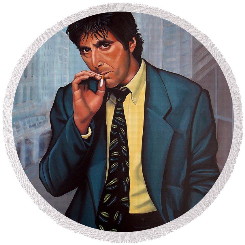Al Pacino Round Beach Towel featuring the painting Al Pacino 2 by Paul Meijering