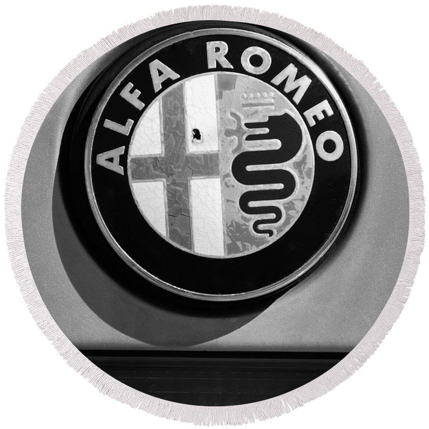 Alfa Romeo Emblem Round Beach Towel featuring the photograph Alfa Romeo Emblem by Jill Reger
