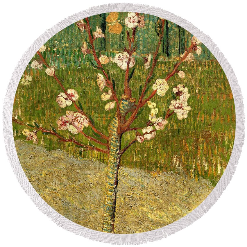 Painting Round Beach Towel featuring the painting Almond Tree In Blossom by Mountain Dreams
