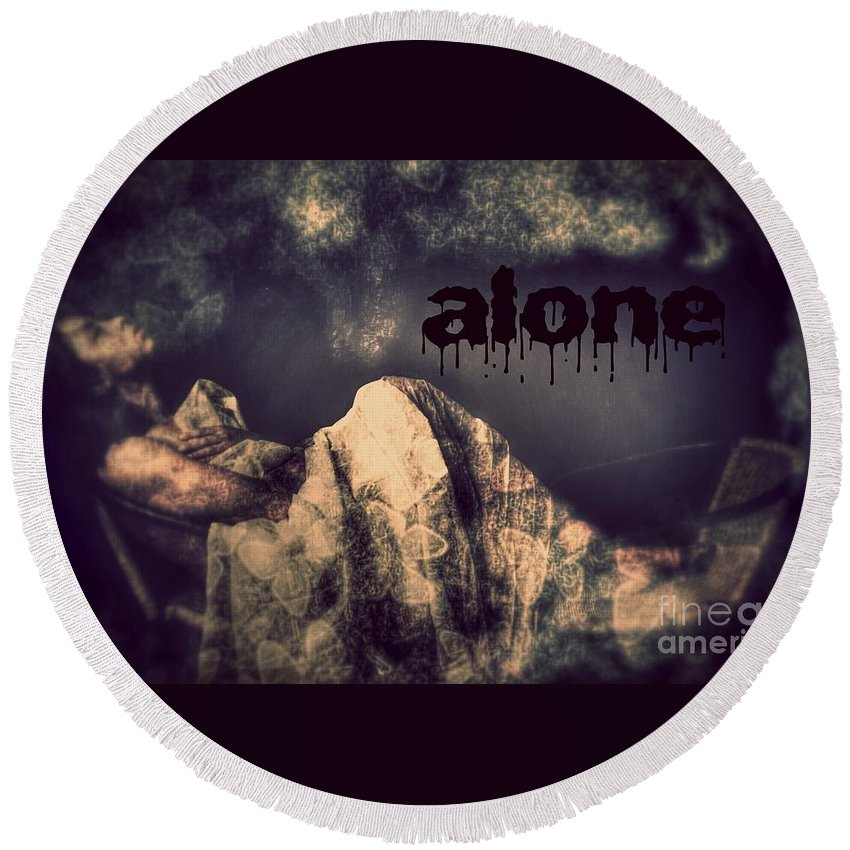 Round Beach Towel featuring the photograph Alone by Jessica Shelton