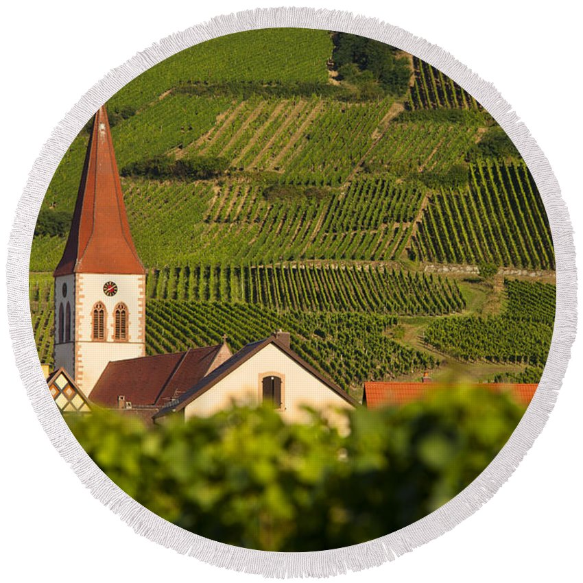 Ammerschwihr Round Beach Towel featuring the photograph Alsace Church by Brian Jannsen