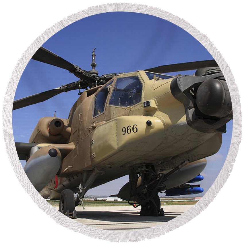 Transportation Round Beach Towel featuring the photograph An Ah-64a Peten Attack Helicopter by Ofer Zidon