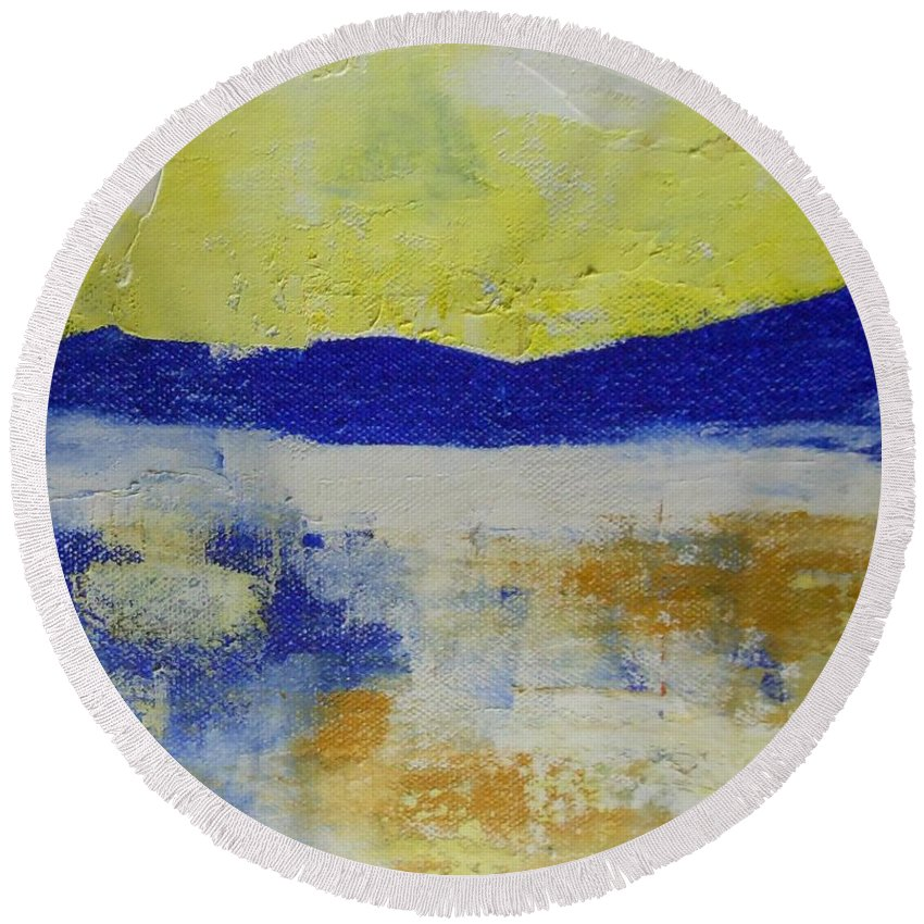 Abstract Round Beach Towel featuring the painting Art By Lyle by Lord Frederick Lyle Morris - Disabled Veteran