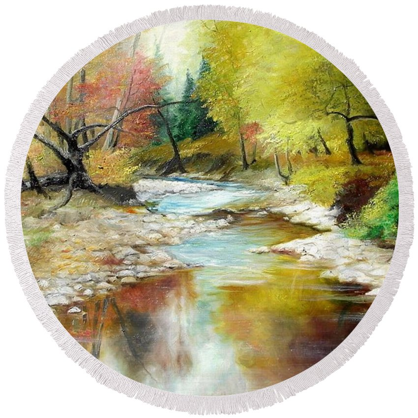 Tree Round Beach Towel featuring the painting Autumn by Sorin Apostolescu
