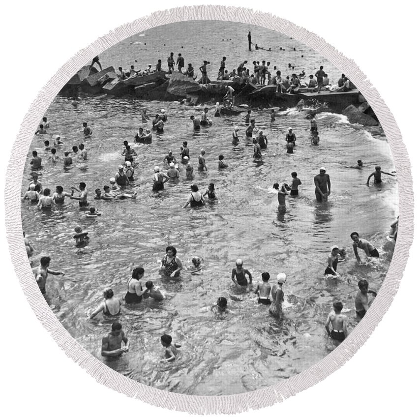 1938 Round Beach Towel featuring the photograph Bathers At Coney Island by Underwood Archives