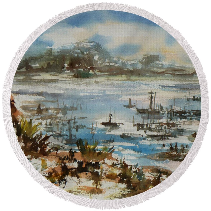 Monterrey Round Beach Towel featuring the painting Bay Scene by Xueling Zou