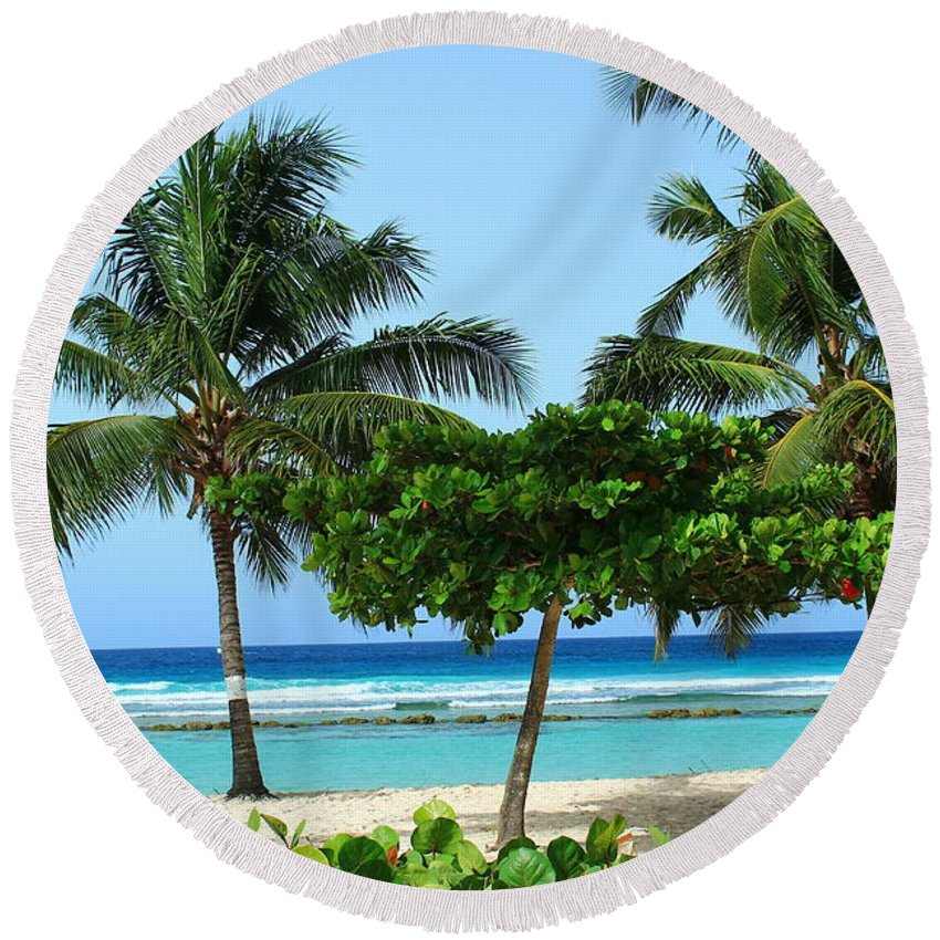 Barbados Round Beach Towel featuring the photograph Beach Paradise by Catie Canetti