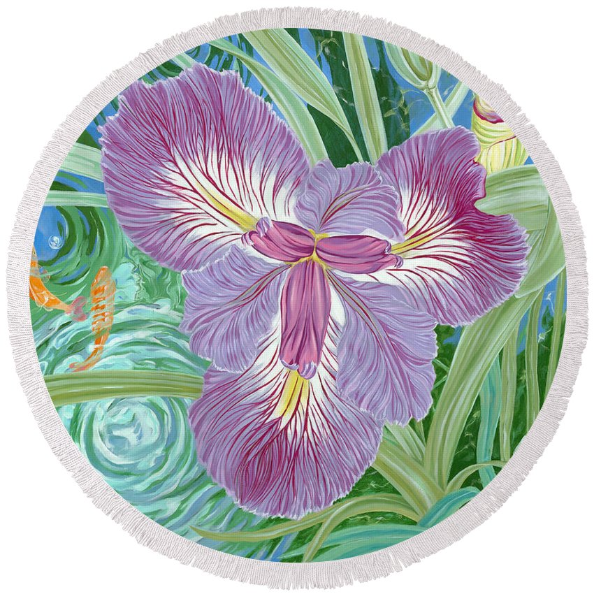 Purple Iris Flower And Buds Round Beach Towel featuring the painting Beverly by John Wilson