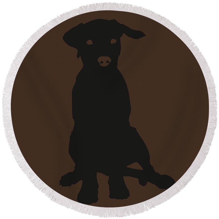 Silhouette Round Beach Towel featuring the digital art Black Labrador by Elizabeth Harshman