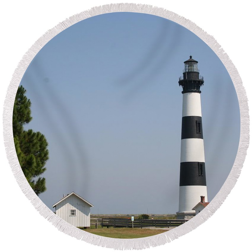 Lighthouse Round Beach Towel featuring the photograph Bodie Island Lighthouse by Christiane Schulze Art And Photography
