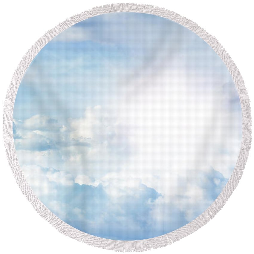 Background Round Beach Towel featuring the photograph Bright Sky by Les Cunliffe
