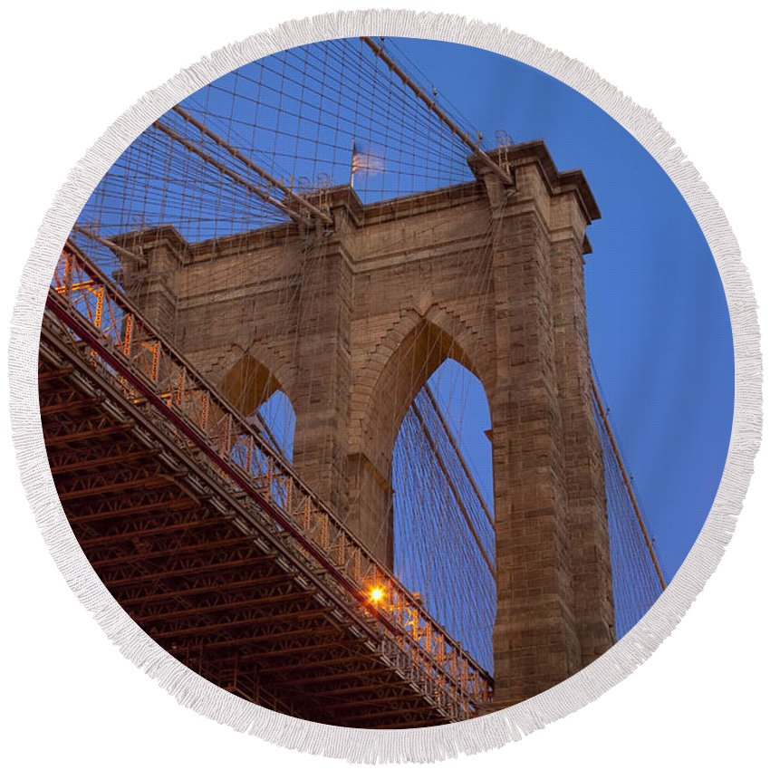 Brooklyn Round Beach Towel featuring the photograph Brooklyn Bridge by Brian Jannsen