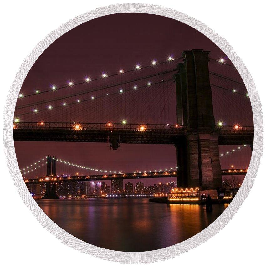 America Round Beach Towel featuring the photograph Brooklyn Bridge by Svetlana Sewell