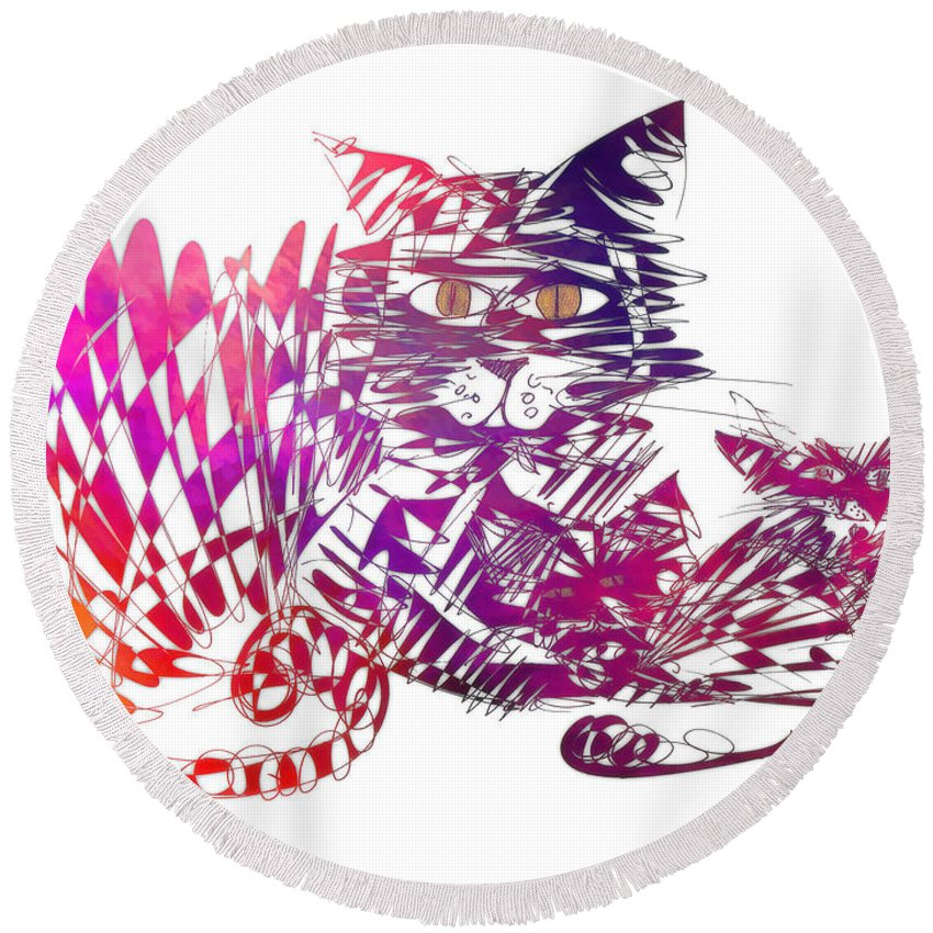 Cat Round Beach Towel featuring the digital art 3 Cats Purple by Justyna JBJart