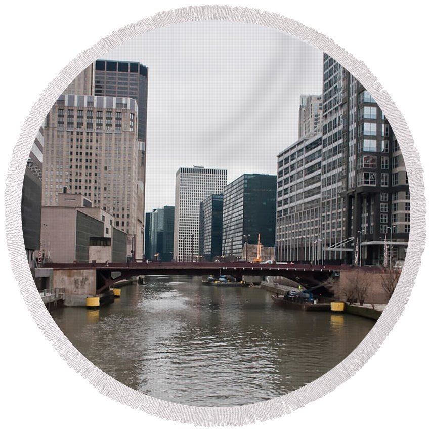 View Round Beach Towel featuring the photograph Chicago Skyline And Streets by Alex Grichenko