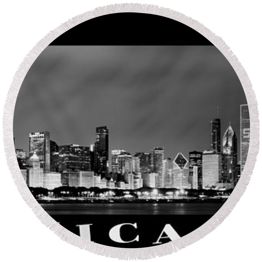 Chicago Skyline Round Beach Towel featuring the photograph Chicago Skyline At Night In Black And White by Sebastian Musial