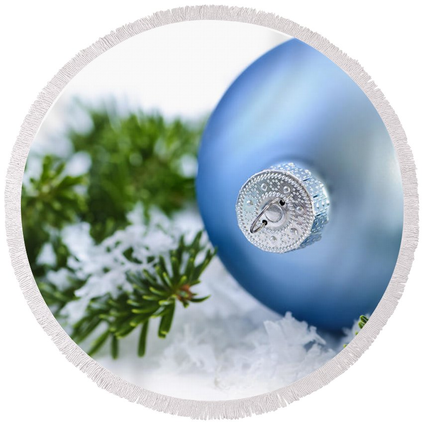 Christmas Round Beach Towel featuring the photograph Christmas Ornament by Elena Elisseeva
