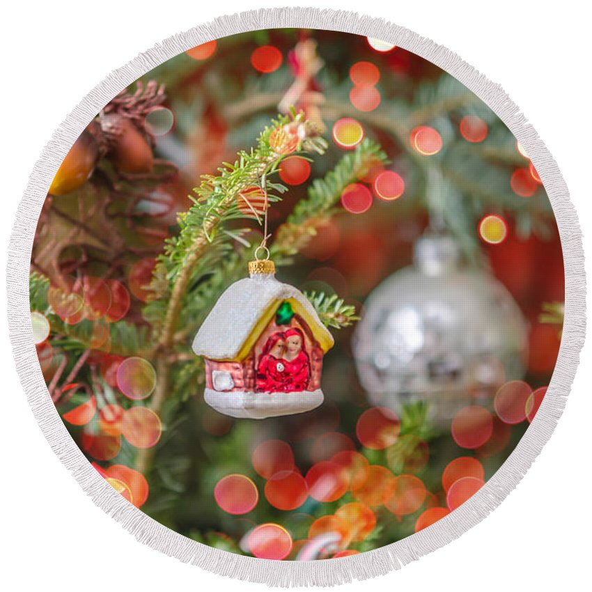 And Round Beach Towel featuring the photograph Christmas Tree Ornaments And Decorations by Alex Grichenko