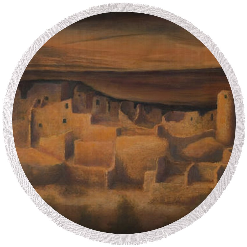 Mesa Verde Round Beach Towel featuring the painting Cliff Palace by Jerry McElroy