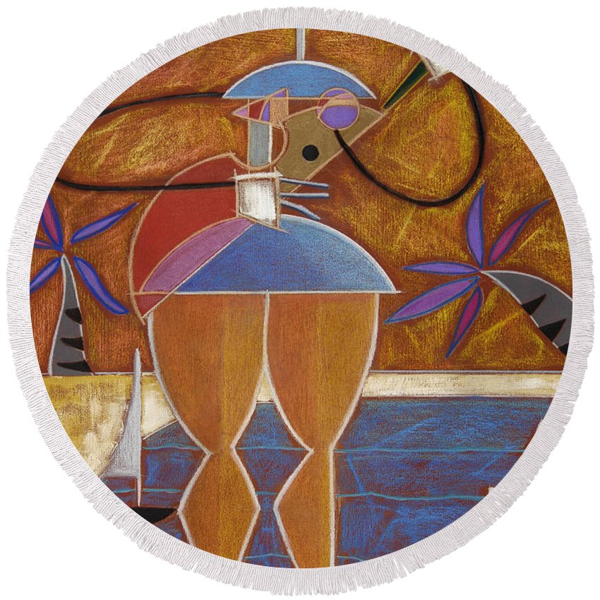 Colorful Round Beach Towel featuring the painting Cuatro Caliente by Oscar Ortiz