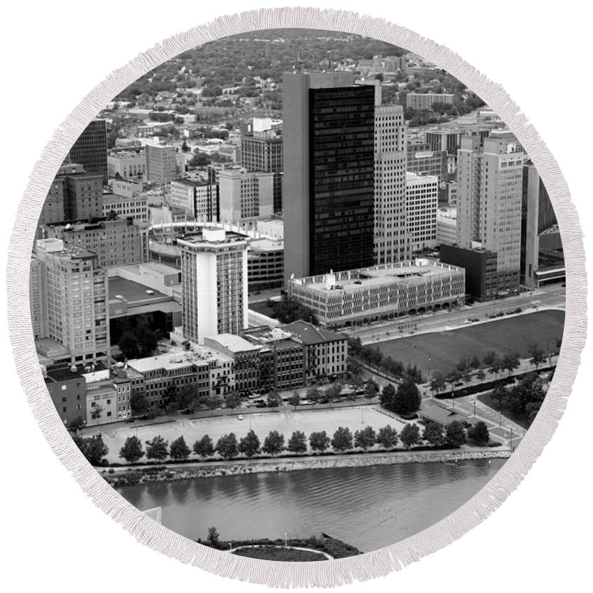 Black And White Round Beach Towel featuring the photograph Downtown Skyline Of Toledo Ohio by Bill Cobb