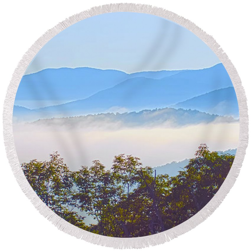 America Round Beach Towel featuring the photograph Early Morning On Blue Ridge Parkway by Alex Grichenko