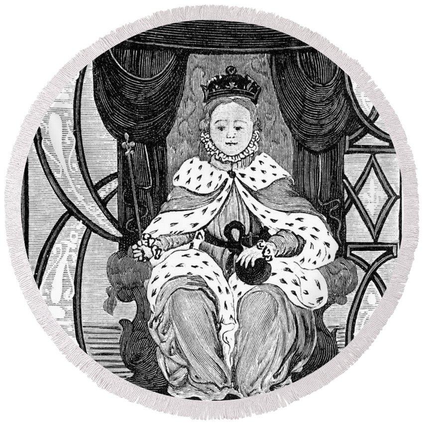 1560s Round Beach Towel featuring the painting Elizabeth I (1533-1603) by Granger