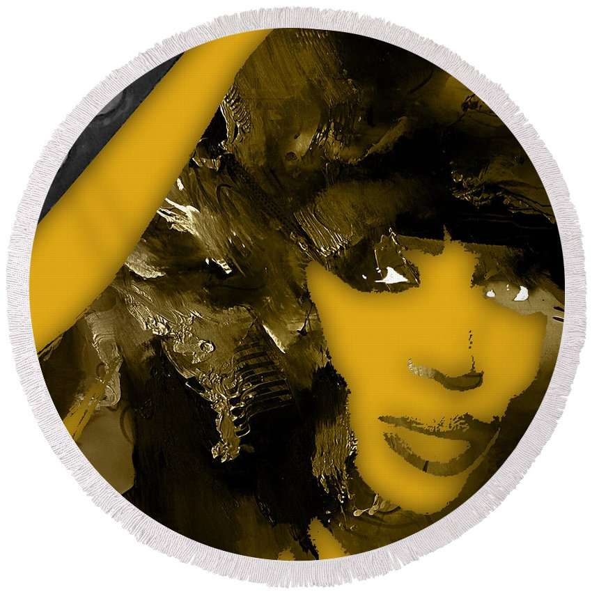 Naomi Campbell Round Beach Towel featuring the mixed media Empires Naomi Campbell Camilla by Marvin Blaine