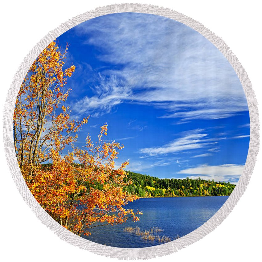Lake Round Beach Towel featuring the photograph Fall Forest And Lake by Elena Elisseeva