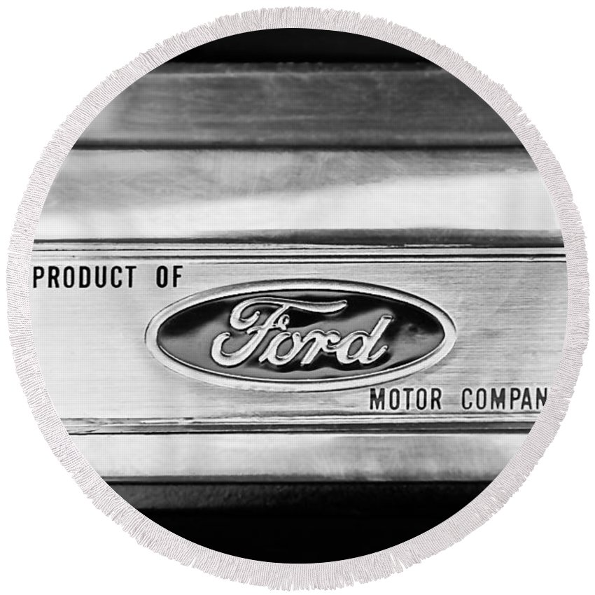 Powered By Ford Emblem Round Beach Towel featuring the photograph Powered By Ford Emblem -0307bw by Jill Reger