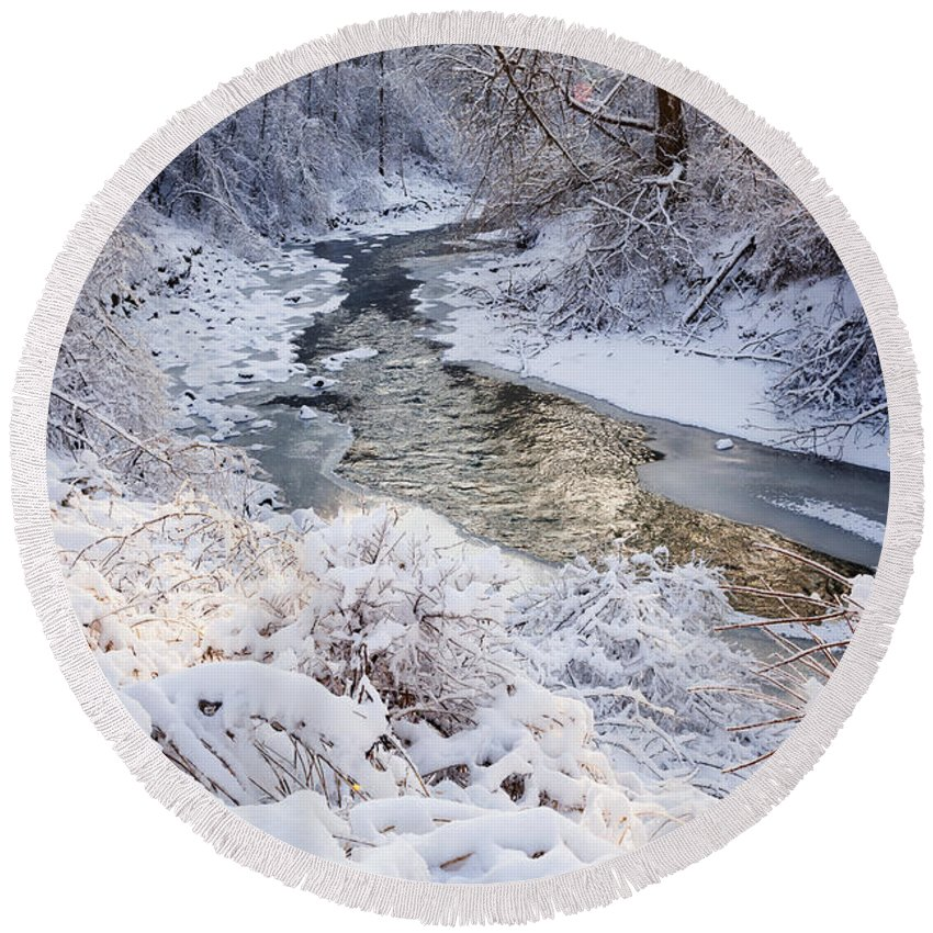 Winter Round Beach Towel featuring the photograph Forest Creek After Winter Storm by Elena Elisseeva