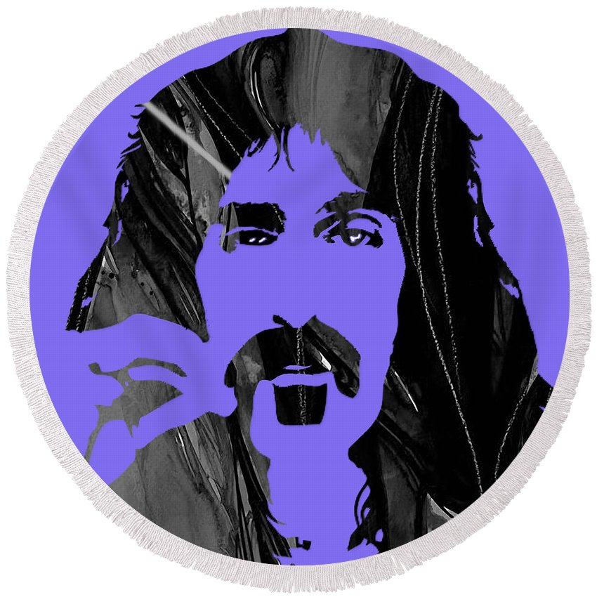 Frank Zappa Round Beach Towel featuring the mixed media Frank Zappa Collection by Marvin Blaine
