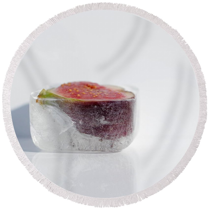 Ice Round Beach Towel featuring the photograph Frosty Fruit by Heike Hultsch
