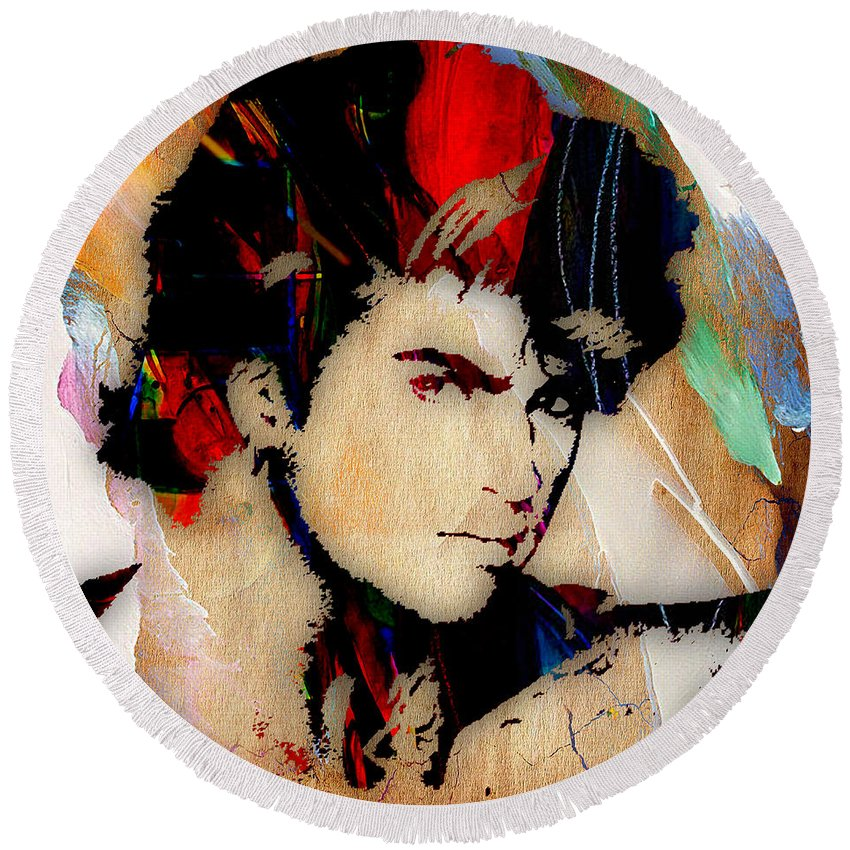 George Michael Round Beach Towel featuring the mixed media George Michael Collection by Marvin Blaine