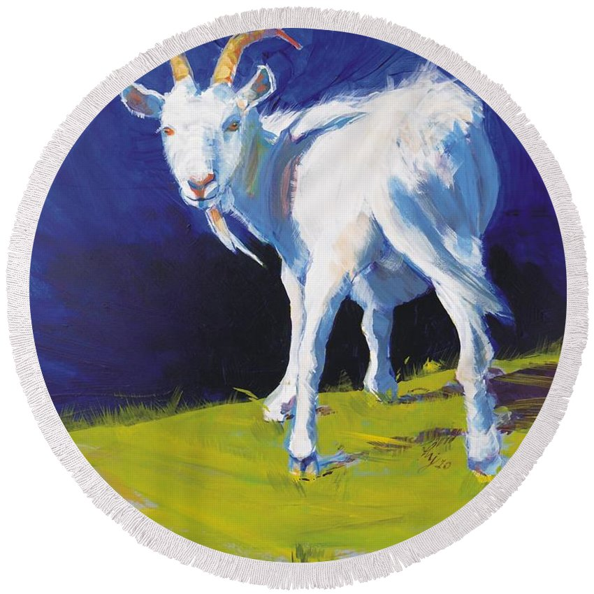 Goats Round Beach Towel featuring the painting Goat by Mike Jory