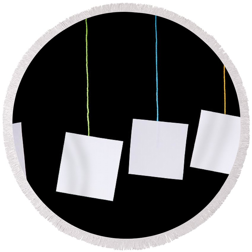 Advertisement Round Beach Towel featuring the photograph Hanging White Tags by Tim Hester