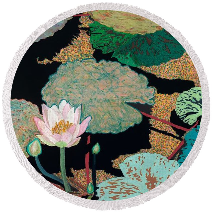 Landscape Round Beach Towel featuring the painting Hot and Humid by Allan P Friedlander