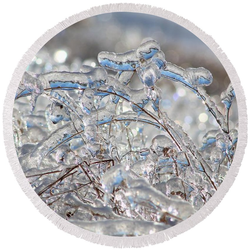 Mccombie Round Beach Towel featuring the photograph Ice Storm Alfalfa by J McCombie