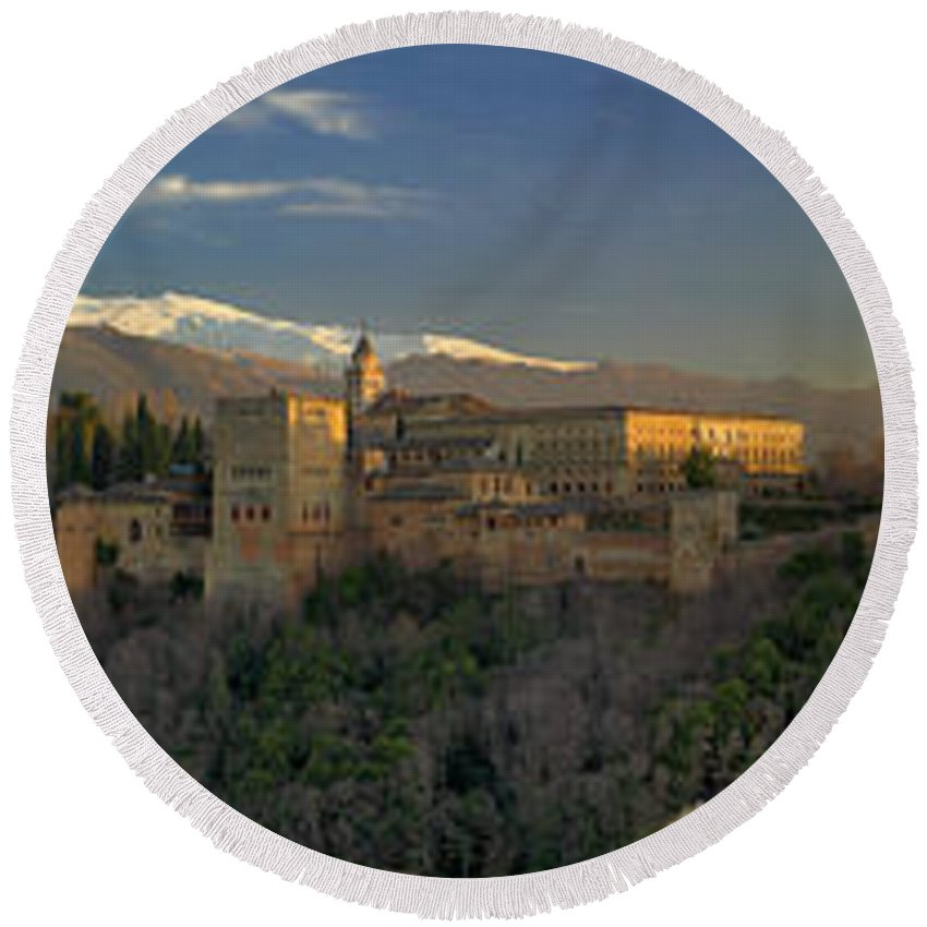 The Alhambra Round Beach Towel featuring the photograph La Alhambra Granada Spain by Guido Montanes Castillo