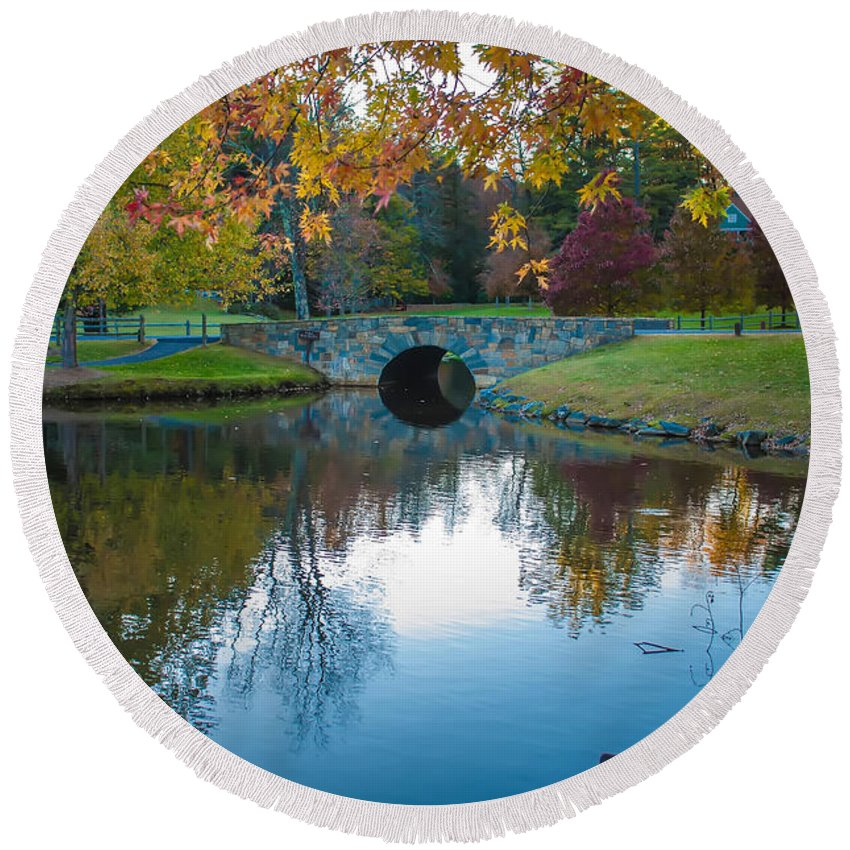 Autumn Round Beach Towel featuring the photograph Lake Reflections by Alex Grichenko