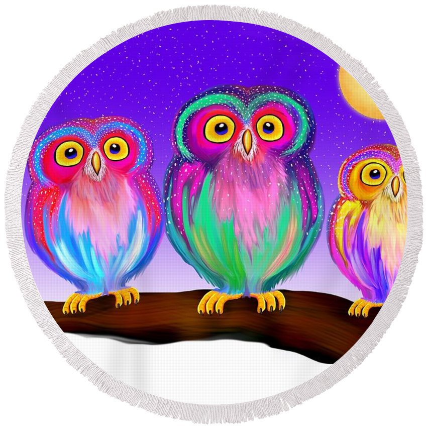 Owls Round Beach Towel featuring the painting 3 Little Owls In The Moonlight by Nick Gustafson