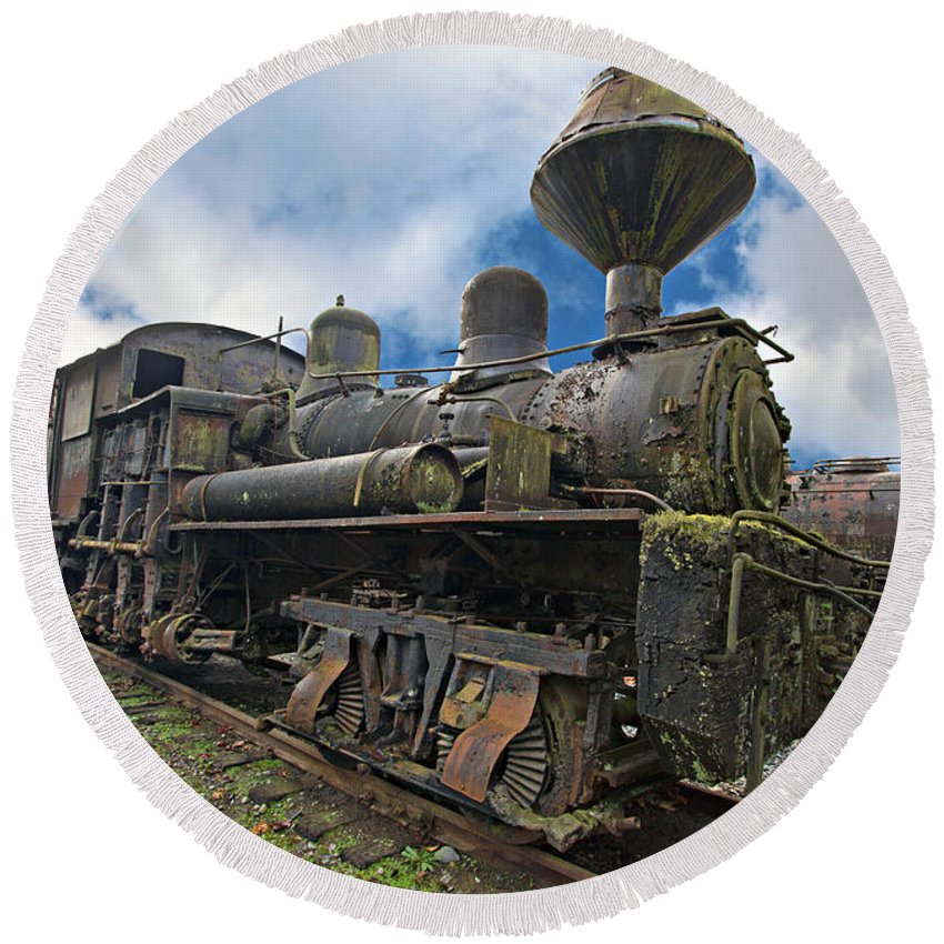 Locomotive Round Beach Towel featuring the photograph Locomotive by Paul Fell