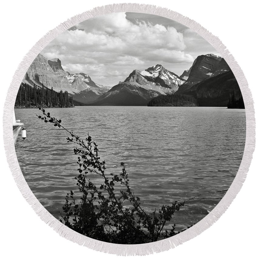 B&w Round Beach Towel featuring the photograph Maligne Lake by RicardMN Photography
