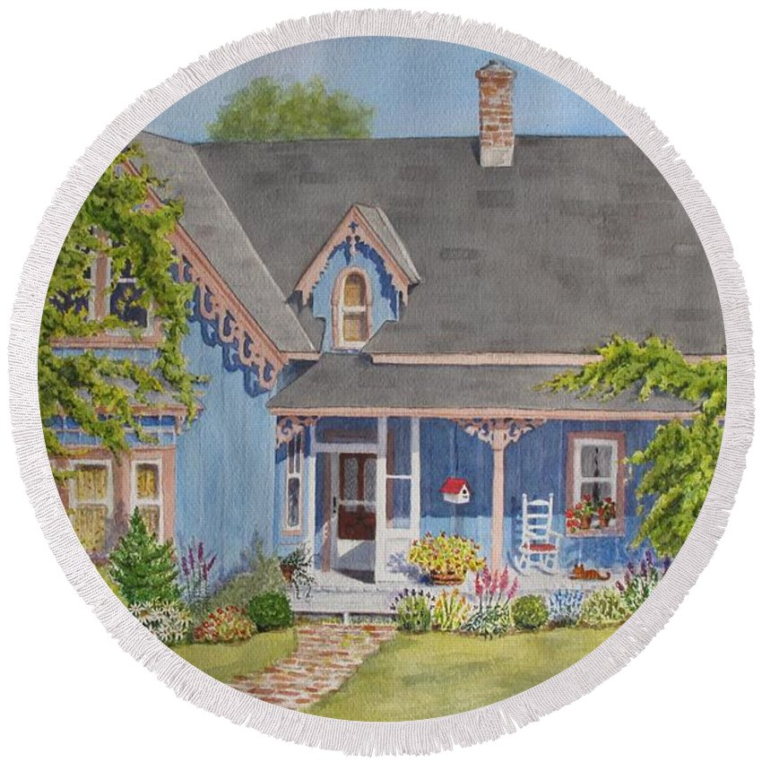 Canada Round Beach Towel featuring the painting My Blue Heaven by Mary Ellen Mueller Legault