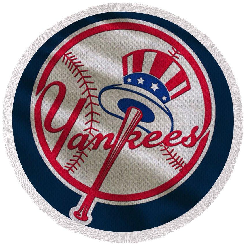 Yankees Round Beach Towel featuring the photograph New York Yankees Uniform by Joe Hamilton