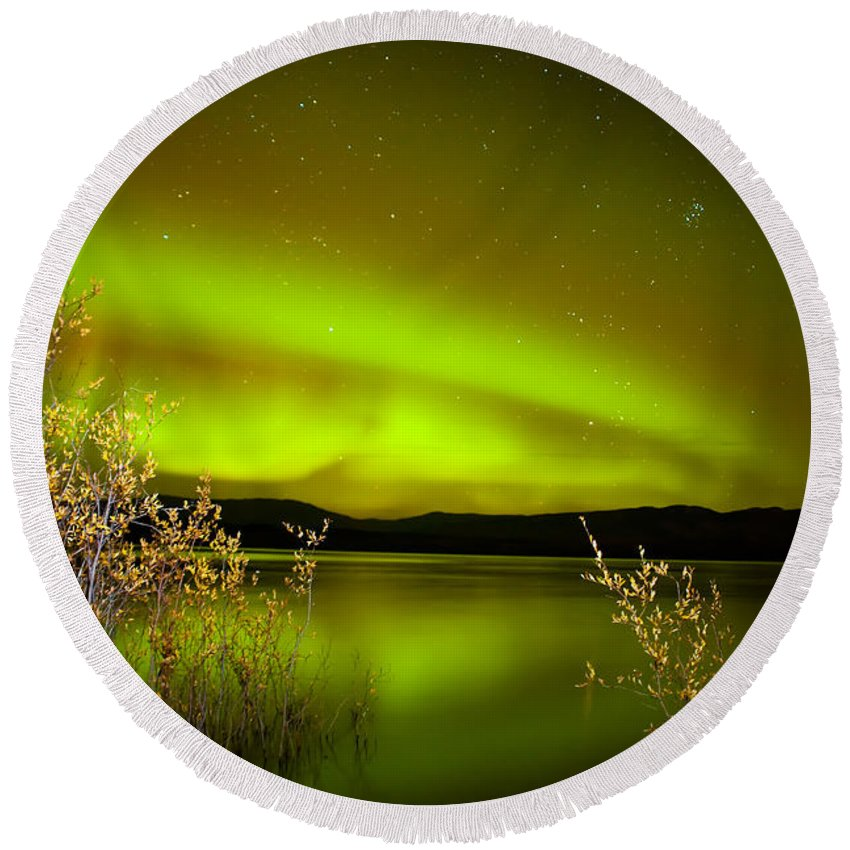 Above Round Beach Towel featuring the photograph Northern Lights Mirrored On Lake by Stephan Pietzko