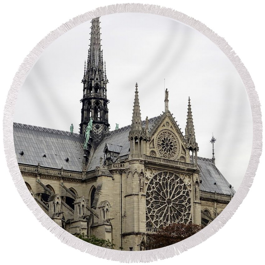 Paris Round Beach Towel featuring the photograph Notre Dame In Paris France by Richard Rosenshein